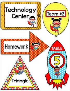Superhero Theme Classroom Labels