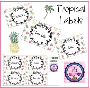 Labels Tropical Theme