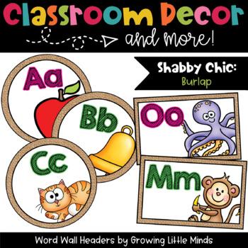 Labels:  Word Wall- Shabby Chic Burlap classroom decor