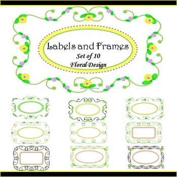 Labels and Frames, Set of 10, Floral Design
