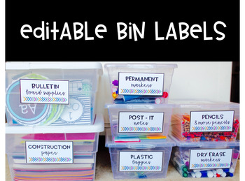 Labels and Label Template for Bins