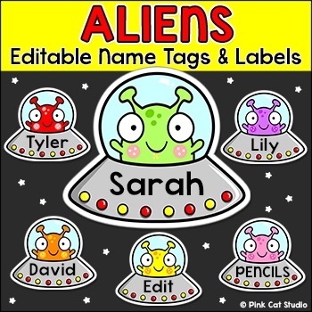 Labels and Name Tags - Alien Theme