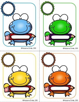 Labels and Name tags / Étiquettes d'identification {grenouilles}