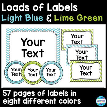 Labels and Sign Templates in Light Blue and Lime Green