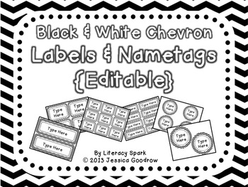Labels and/or Name Tags - Black & White Chevron {Editable}