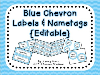 Labels and/or Name Tags - Blue Chevron {Editable}