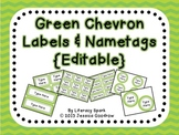 Labels and/or Name Tags - Green Chevron {Editable}