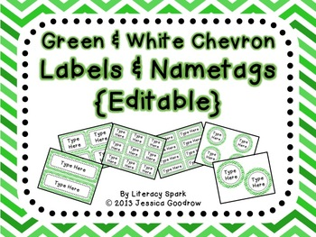 Labels and/or Name Tags - Green & White Chevron {Editable}