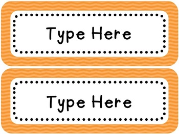 Labels and/or Name Tags - Orange Chevron {Editable}
