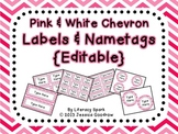 Labels and/or Name Tags - Pink & White Chevron {Editable}