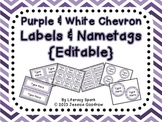 Labels and/or Name Tags - Purple & White Chevron {Editable}