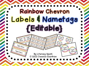 Labels and/or Name Tags - Rainbow Chevron {Editable}