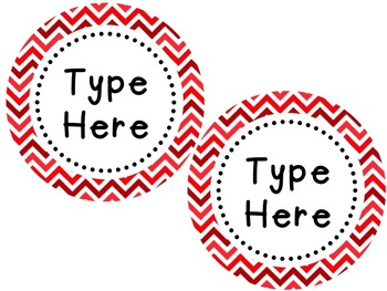 Labels and/or Name Tags - Red & White Chevron {Editable}