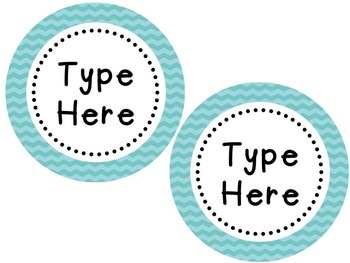Labels and/or Name Tags - Turquoise Chevron {Editable}