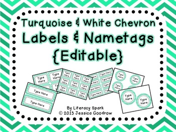 Labels and/or Name Tags - Turquoise & White Chevron {Editable}