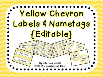 Labels and/or Name Tags - Yellow Chevron {Editable}
