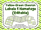Labels and/or Name Tags - Yellow-Green Chevron {Editable}