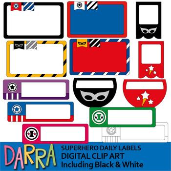 Labels clip art - Superhero daily labels clipart