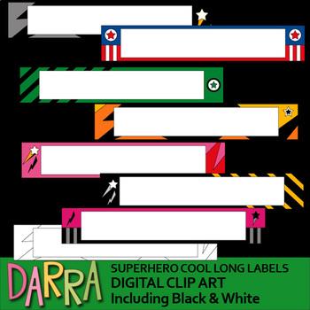 Labels clipart - Superhero cool long labels clip art