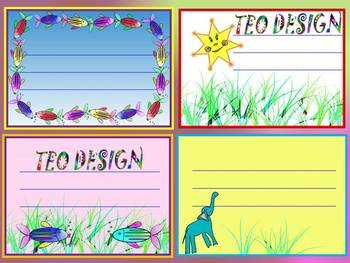Labels - Classroom Decor - elephant - star - fish - Clip Art