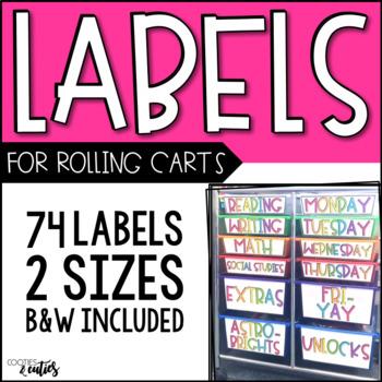 Labels | Rolling Cart Labels | 10-Drawer Rolling Cart Labels