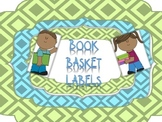 Labels for Book Baskets; Turquoise and Green, Elementary, Genres