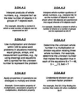 Labels for CCSS Grade 3 MATH