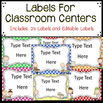 Labels for Classroom Centers
