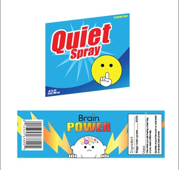 Labels for Classroom - Quiet Spray & Brain Power