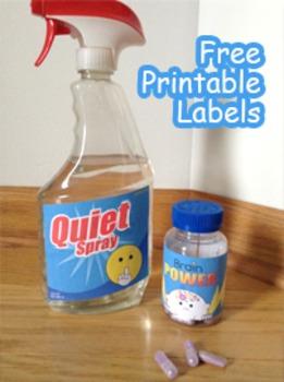 Labels for Classroom - Quiet Spray & Brain Power