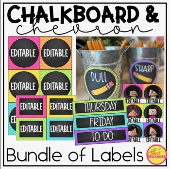Classroom Supply Labels {Chalkboard and Chevron Classroom Decor Theme}