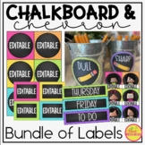 Labels in Chalkboard and Chevron Classroom Decor for Back To School