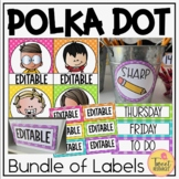 Classroom Supply Labels in a Polka Dot Classroom Decor Theme