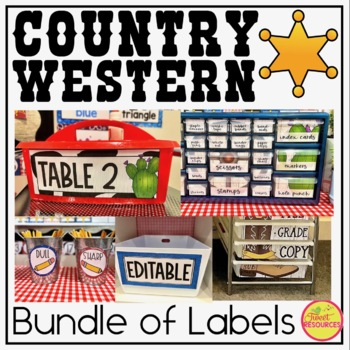 Classroom Supply Labels {Country Western Classroom Decor Theme}