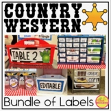 Classroom Supply Labels in a Country Western Classroom Decor Theme
