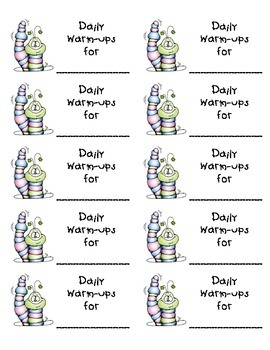 Labels for Daily Warm-ups