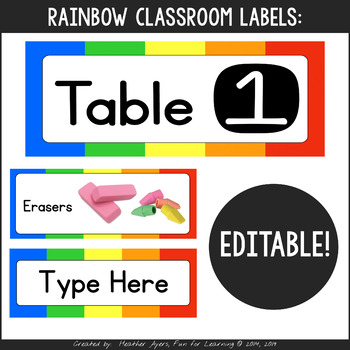 Rainbow Themed Labels for Everything!