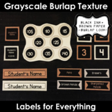 Labels for Everything! - Grayscale Burlap Texture (EDITABLE)