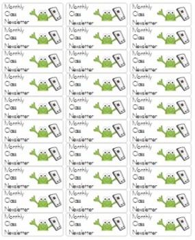 Labels for Homework Folders (FROG THEME)