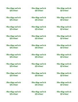 Labels for Inside of Home/School Communication Folder