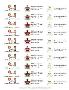 Labels for Kindergarten Orientation Parent Information Folders