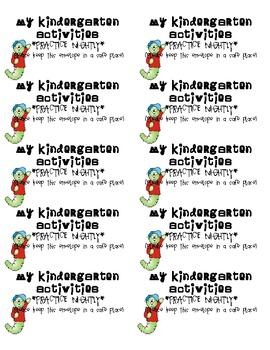 Labels for Kindergarten Take Home Activity Envelopes