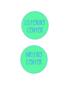 Labels for Literacy Stations/Centers