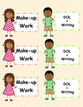 Labels for Make-up Work Folders and DOL/Writing Folders