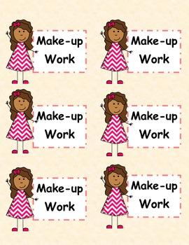 Labels for Make-up Work Folders