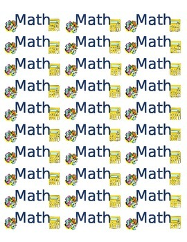 Labels for Math Binder or Notebook