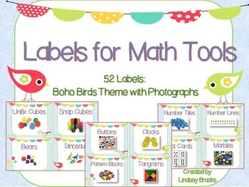 Labels for Math Tools: 52 Labels with Photographs {Boho Birds Theme}