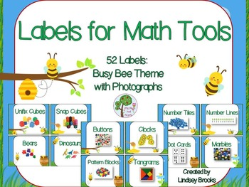 Labels for Math Tools: 52 Labels with Photographs {Busy Be