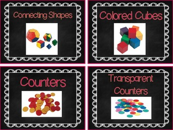 Labels for Math Tools: 52 Labels with Photographs {Chalkboard Theme}