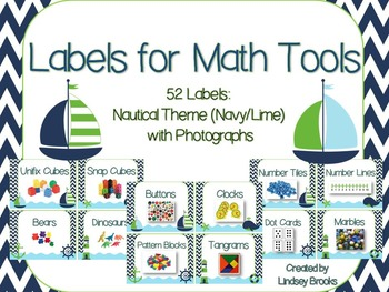 Labels for Math Tools: 52 Labels with Photographs {Nautical Navy/Lime Theme}